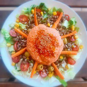 Como preparar una ensalada de lentejas con hummus