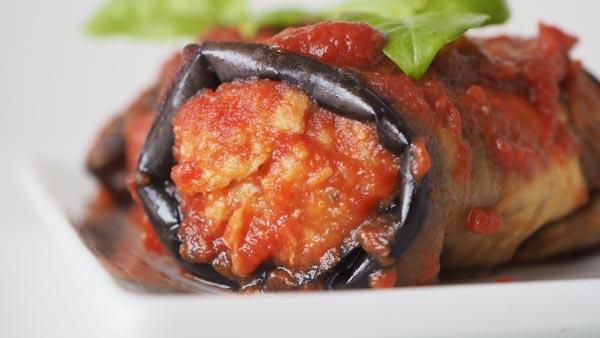 Albóndigas de carne vegetal recubiertas por berenjena