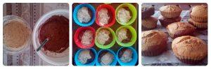 Receta de muffin veganos de dos colores con pepitas de chocolate y nueces