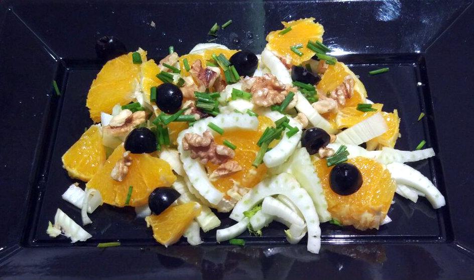 Receta de ensalada de hinojo, naranja y nueces