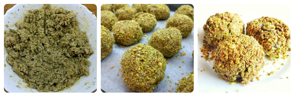 Receta de albóndigas de soja texturizada con pulpa de berenjena y cobertura de pistachos