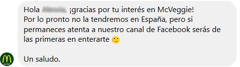 McDonald's España responde sobre McVeggie
