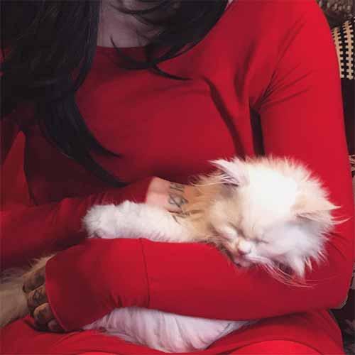 Kat Von D con su gato entre los brazos