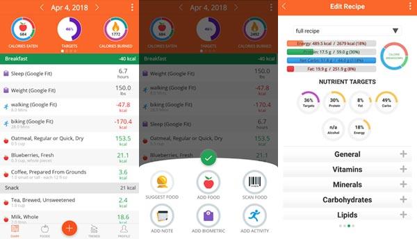Interfaz de Cronometer, app de seguimiento de dietas