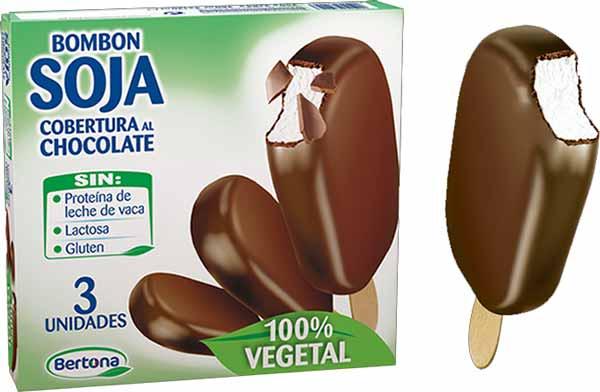 Helado vegano de palo de soja con chocolate en Mercadona:, marca Bertona