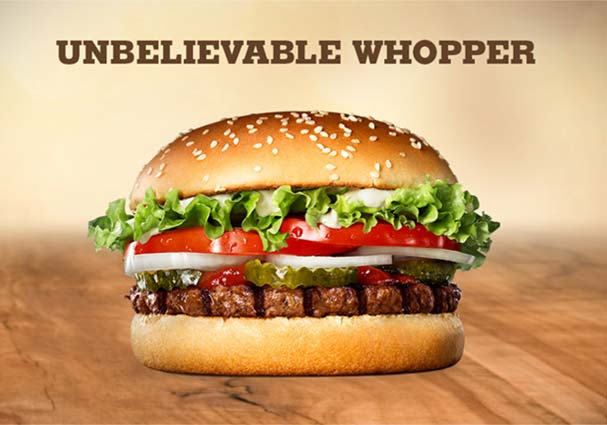 Burger King Vegano - Hamburguesa vegetal Unbelievable Whopper