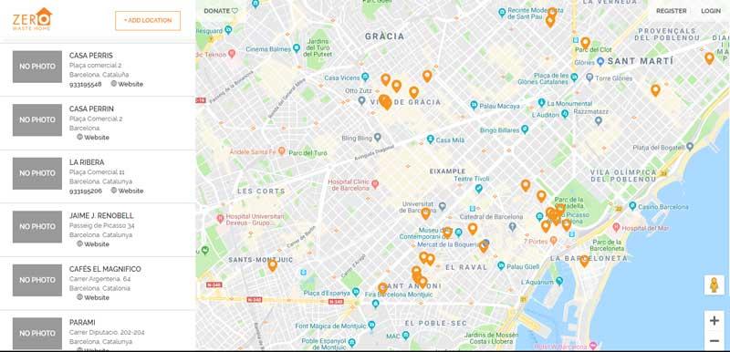 Mapa de Zaro Waste Home web